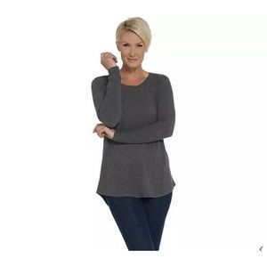 Lisa Rinna Collection 2X Hacci Knit Curved Hem Top
